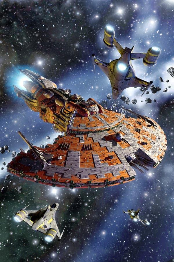 Spaceship battle cruiser assault vector illustration