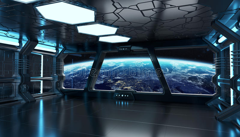 Spaceship blue interior 3D rendering elements of this image furn. Spaceship blue interior with empty window view 3D rendering elements of this image furnished by royalty free illustration