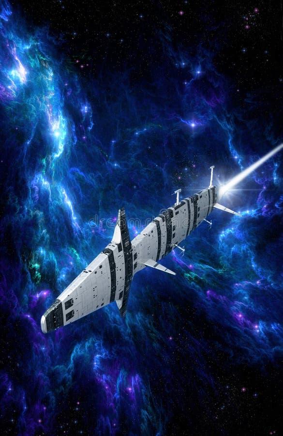 Spaceship and blue nebula vector illustration