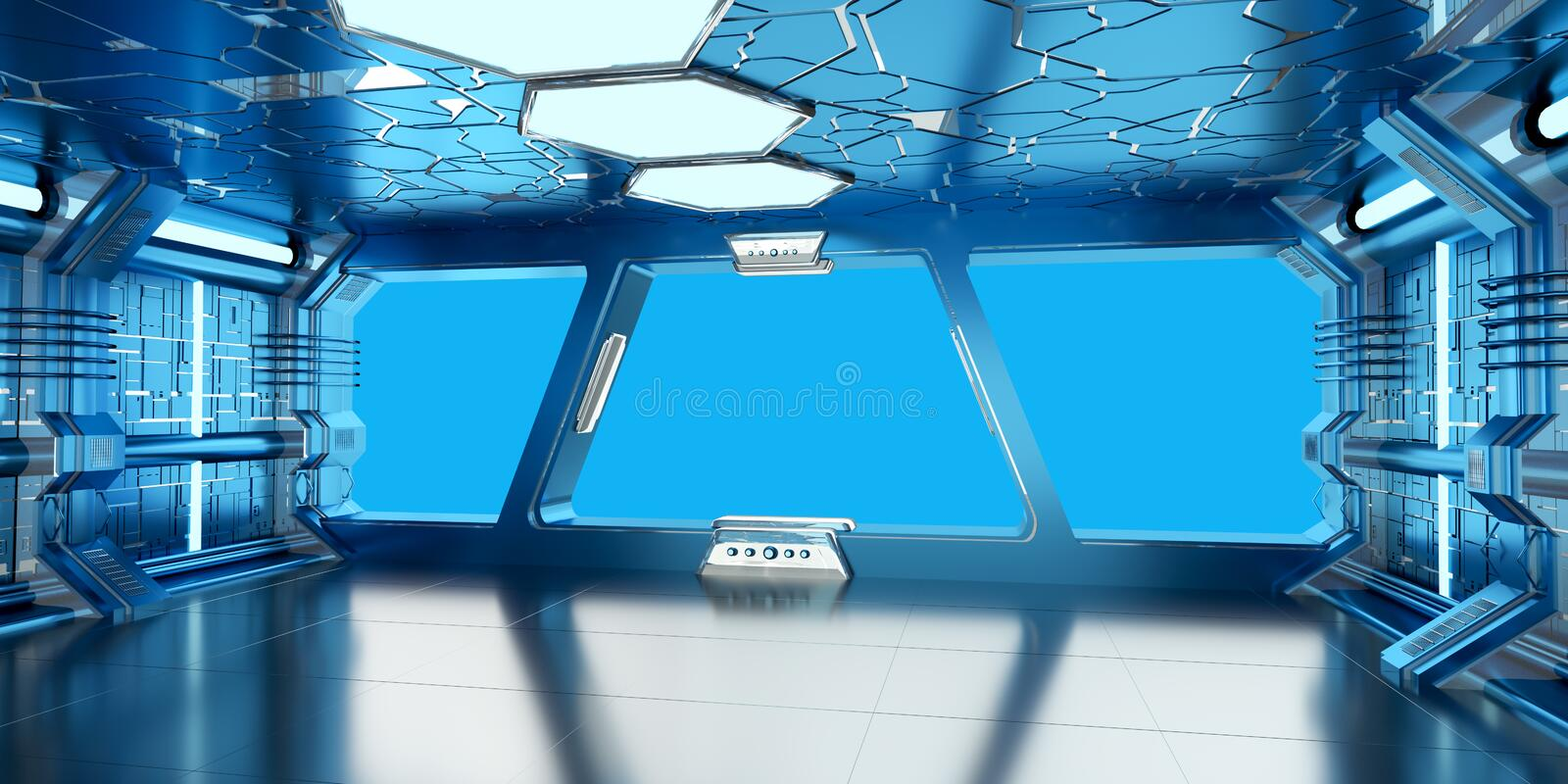 Spaceship blue and white interior 3D rendering royalty free illustration