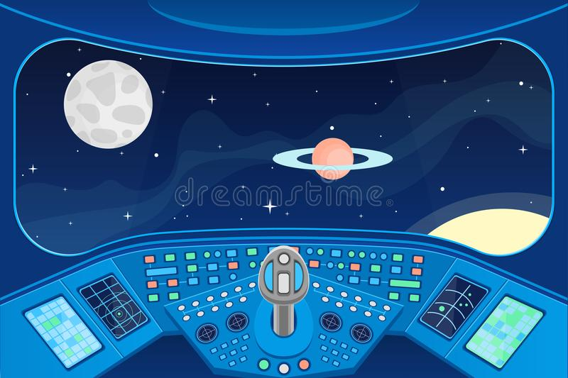 Spaceship Cabin Interior and View Window to Space Background Card. Vector vector illustration