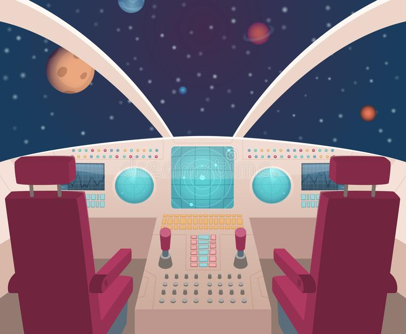 Spaceship cockpit. Shuttle inside interior with dashboard panel vector illustration in cartoon style royalty free illustration