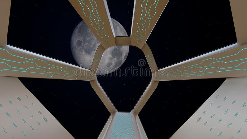 Spaceship Cockpit view, journey to the moon. 3D rendering stock illustration