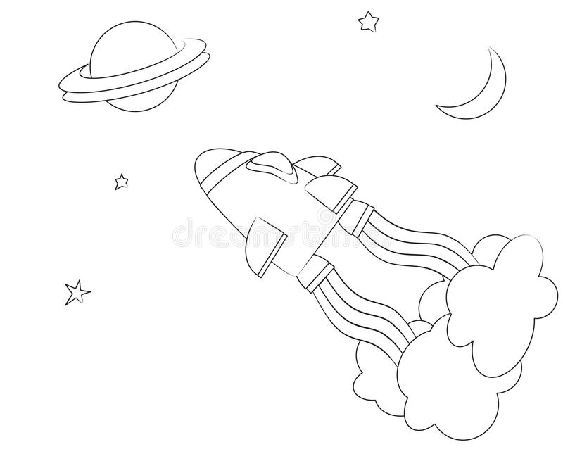 Spaceship colouring page stock illustration