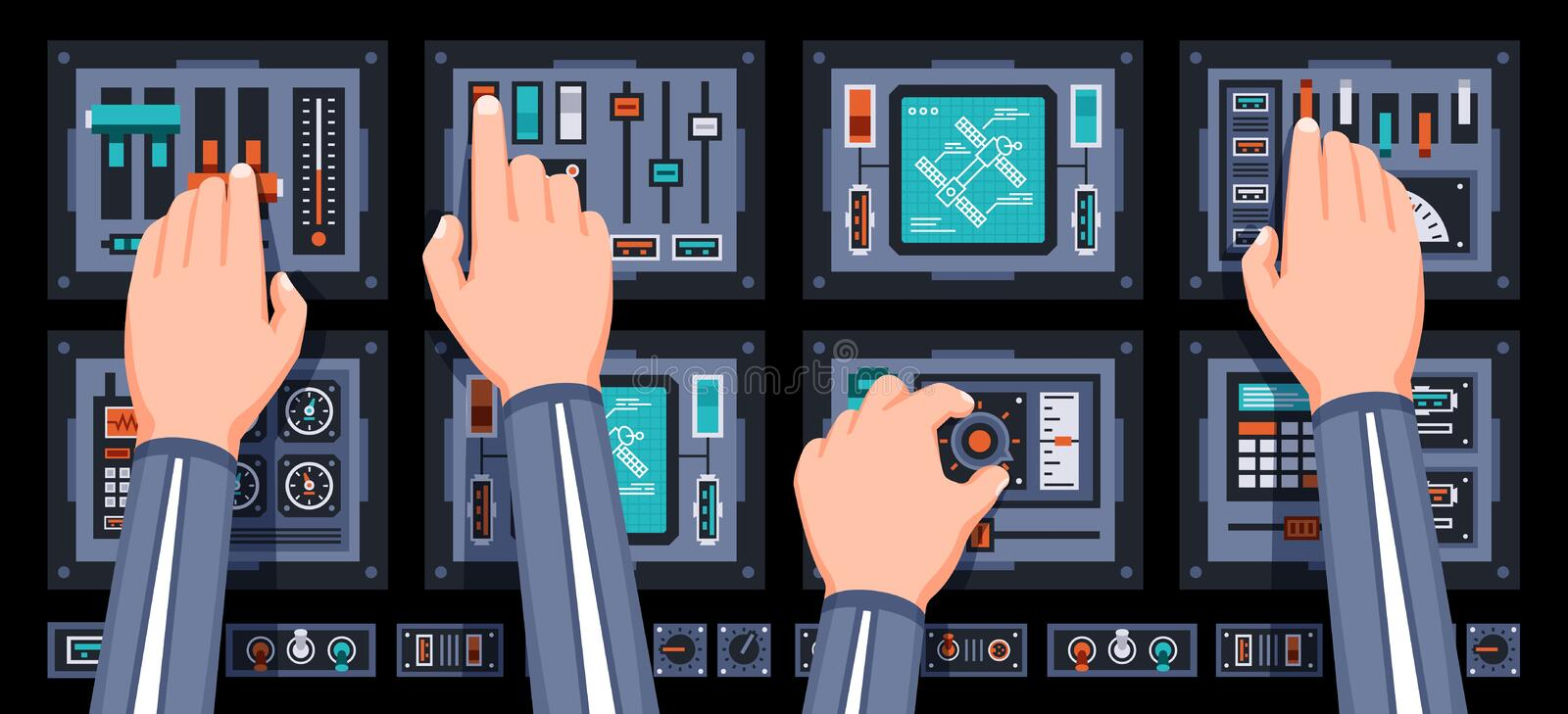 Spaceship control panel with hands of pilots. Spacecraft dashboard with with many control elements. Vector illustration stock illustration