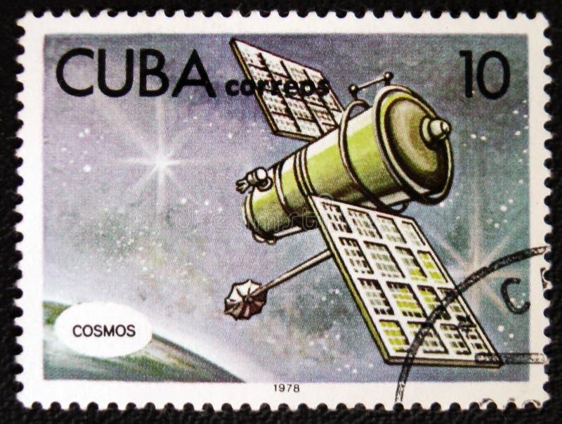Spaceship Cosmos, circa 1978. MOSCOW, RUSSIA - JANUARY 7, 2017: A stamp printed in Cuba shows spaceship Cosmos, circa 1978 stock photography