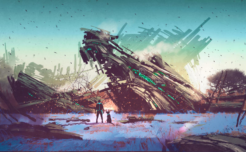 Spaceship crashed on blue field stock illustration