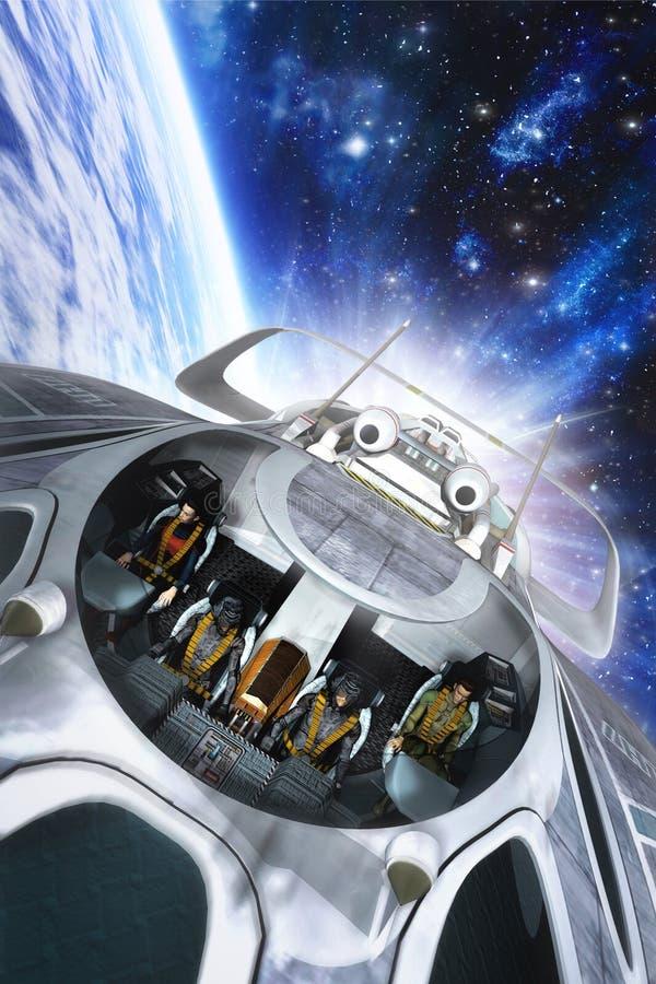 Spaceship with crew in orbit stock illustration