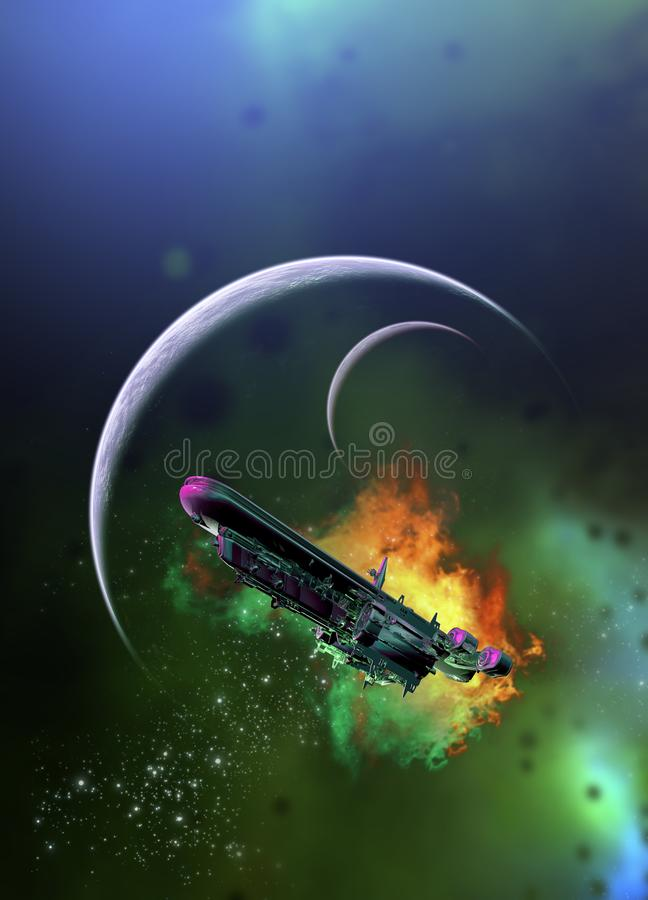 Spaceship and planets vector illustration