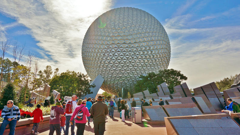 Spaceship Earth in Epcot. Spaceship Earth viewed from the main entrance of Epcot, Walt Disney World, Orlando, FL during the Christmas holiday stock image
