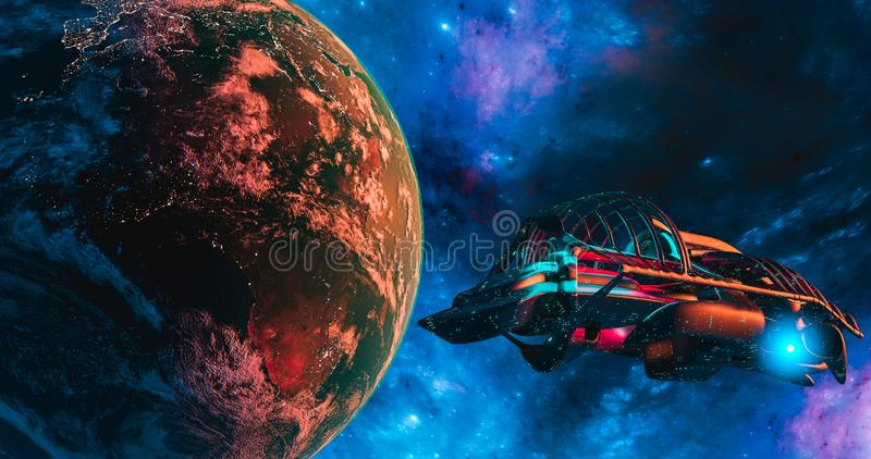 Spaceship and Earth with galaxy background  UFO concept of alien spaceship planet Earth maps by NASA. 3d rendering royalty free illustration