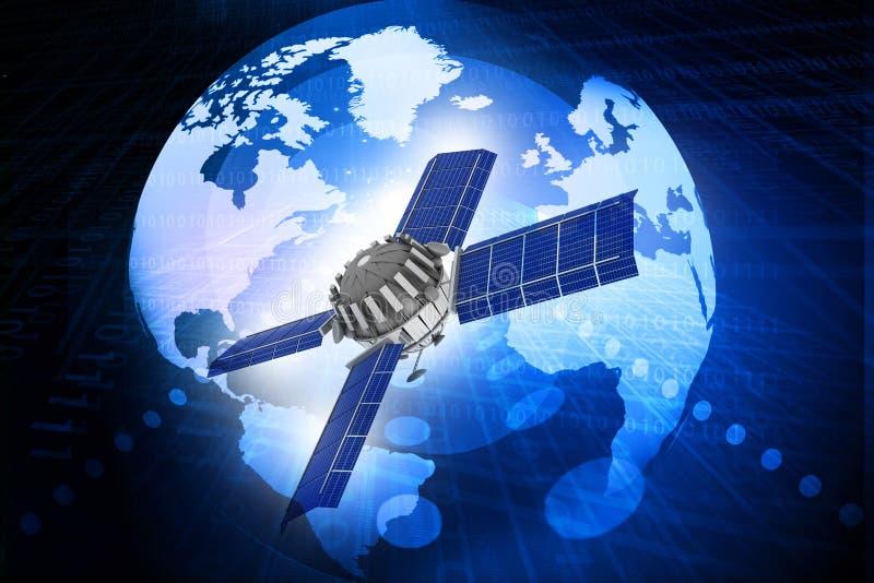 Spaceship at the Earth orbit. 3d render of spaceship at the Earth orbit stock photos