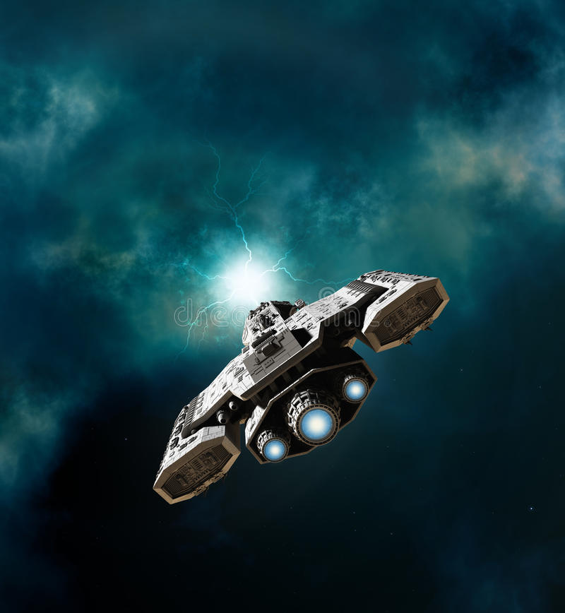 Spaceship Entering a Wormhole. Science fiction illustration of a spaceship about to enter a wormhole in deep space, 3d digitally rendered illustration vector illustration