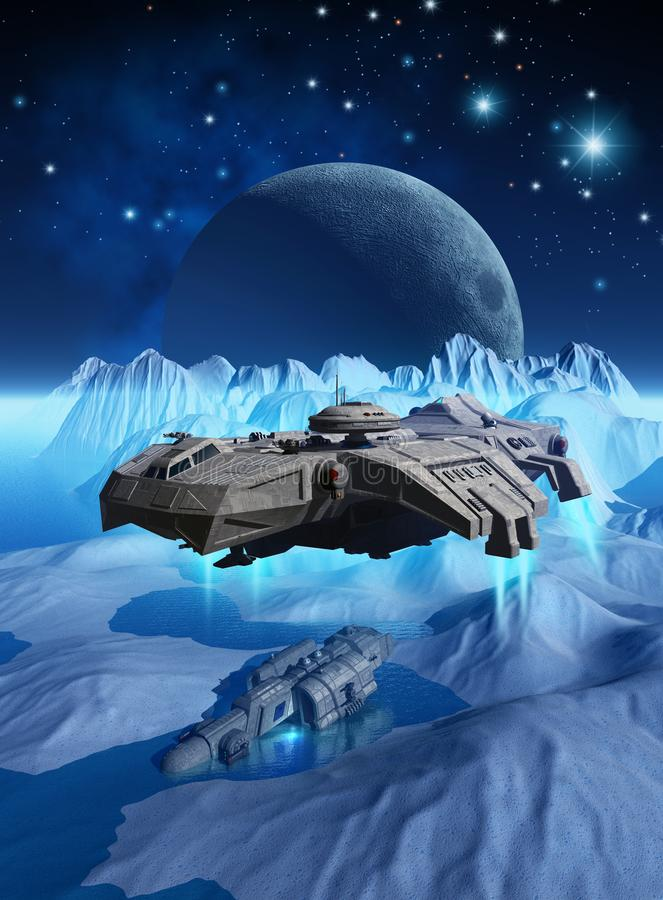 Spaceship that explores the surface of a frozen alien planet looking for a wreck, 3d render. For book cover, advertising, web site and publishing project stock illustration