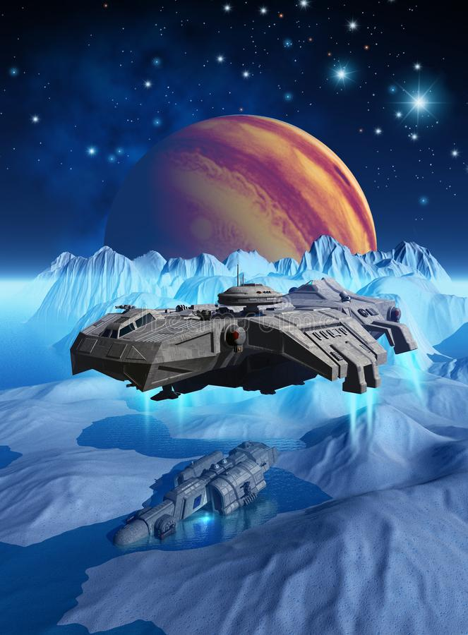 Spaceship that explores the surface of the frozen moon Europa, around jupiter planet, looking for a wreck, 3d render vector illustration