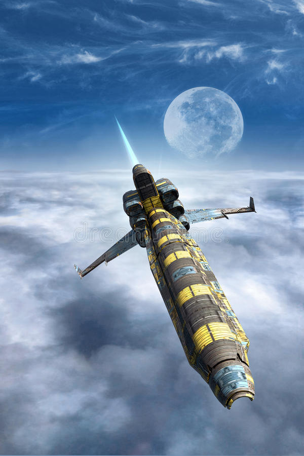 Spaceship fighter above a cloud sky royalty free illustration