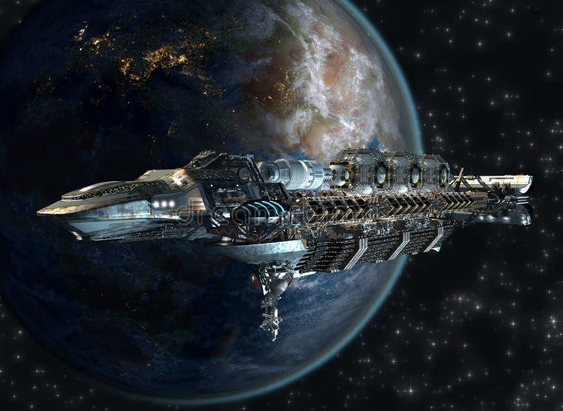 Spaceship fleet leaving Earth vector illustration