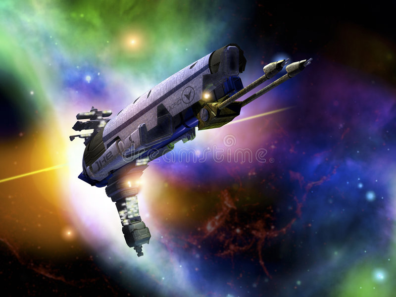 Spaceship in flight stock photography
