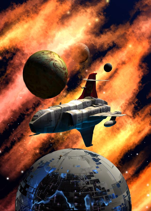 Spaceship flying around a space station wreck, near a planetary system, inside a nebula with stars, 3d illustration. Spaceship flying around a space station stock illustration