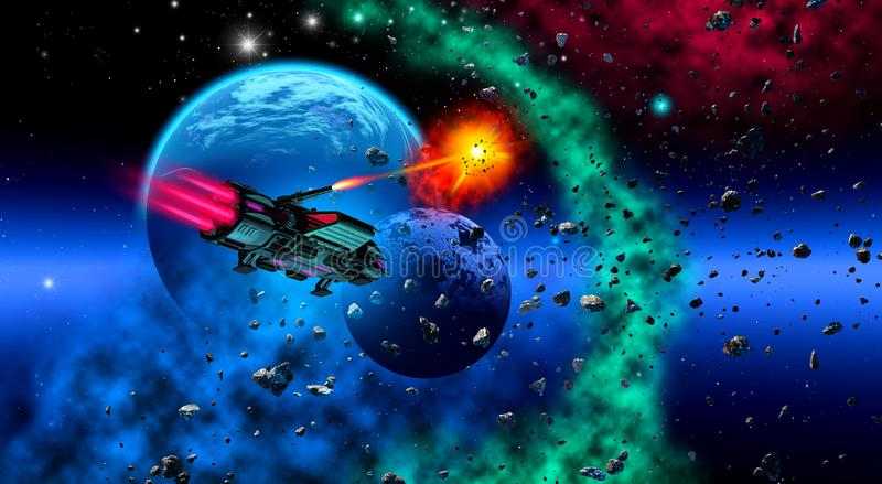 spaceship flying near a planetary system with a moon, asteroids and a nebula, 3d illustration stock illustration
