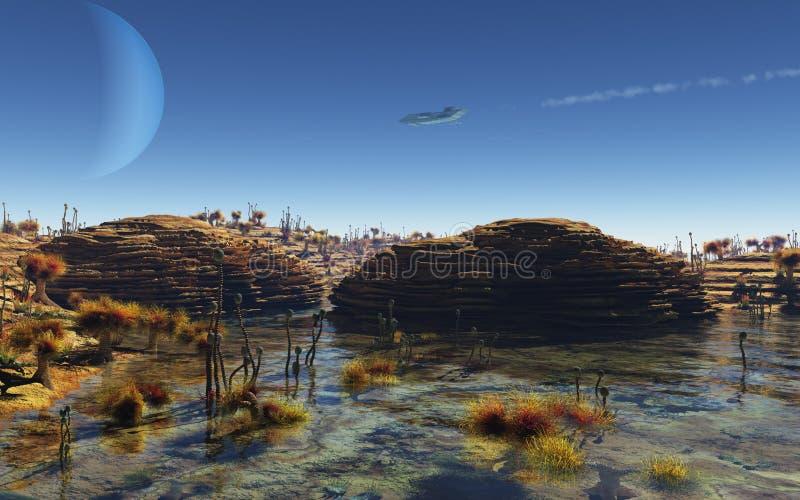 Spaceship flying over an alien planet landscape