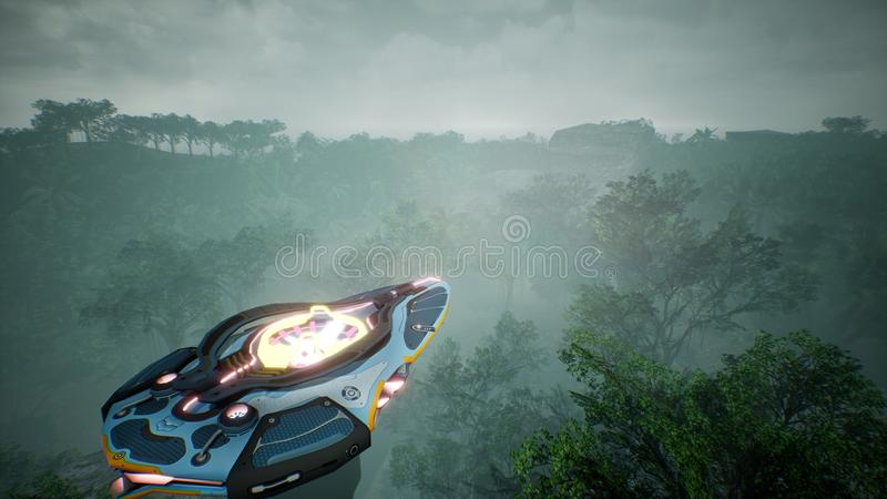 A spaceship flying over an unknown green planet. A futuristic concept of a UFO. 3D rendering. royalty free stock photo