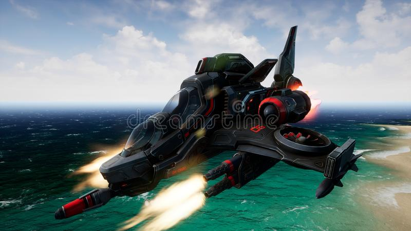 A spaceship flying over an unknown water planet and shoots. 3D Rendering stock photos