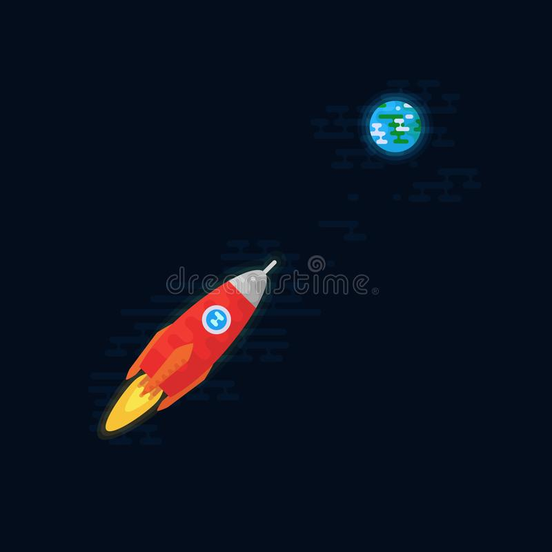 Spaceship flying to the planet Earth. stock illustration