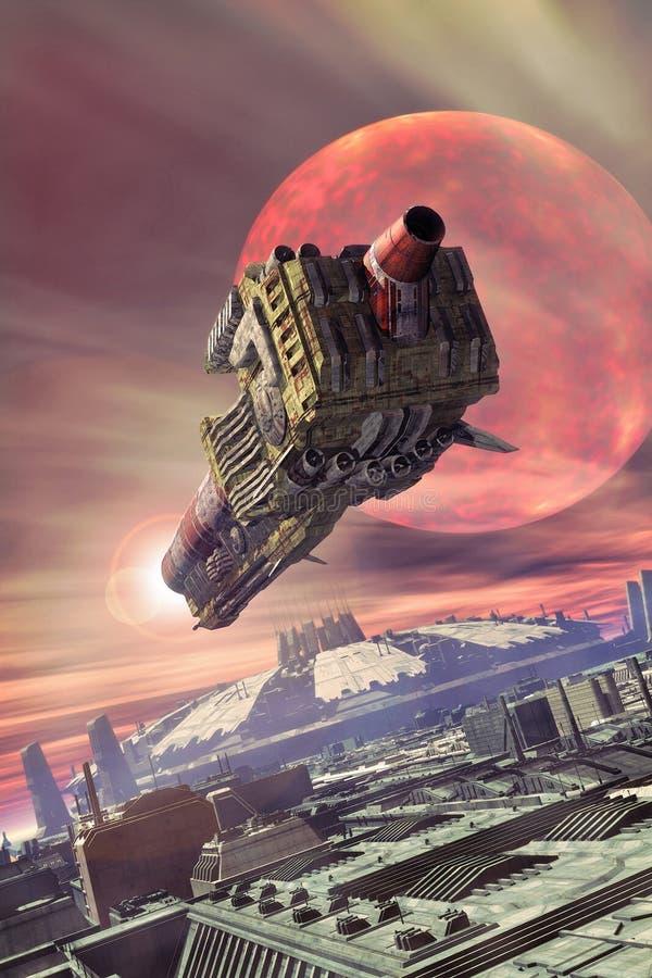 Spaceship and futuristic city royalty free illustration