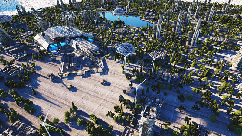Spaceship in a futuristic city, town. The concept of the future. Aerial view. 3d rendering. stock illustration