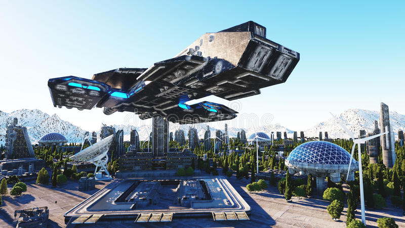 Spaceship in a futuristic city, town. The concept of the future. Aerial view. 3d rendering. royalty free illustration