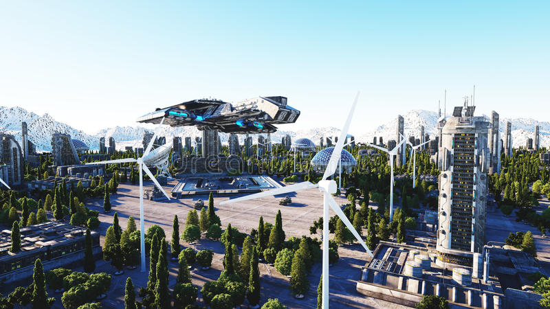 Spaceship in a futuristic city, town. The concept of the future. Aerial view. 3d rendering. Spaceship in a futuristic city, town. The concept of the future stock illustration