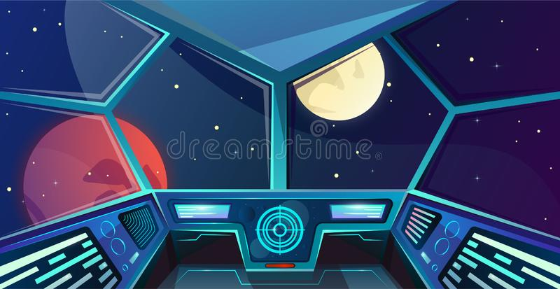 Spaceship futuristic command post. Interior of captains bridge in cartoon style. Vector illustration with radar, screen, hologram royalty free illustration