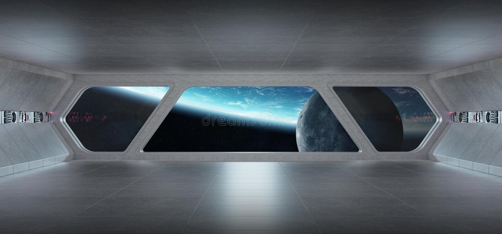 Spaceship futuristic grey blue interior with view on planet Earth stock illustration