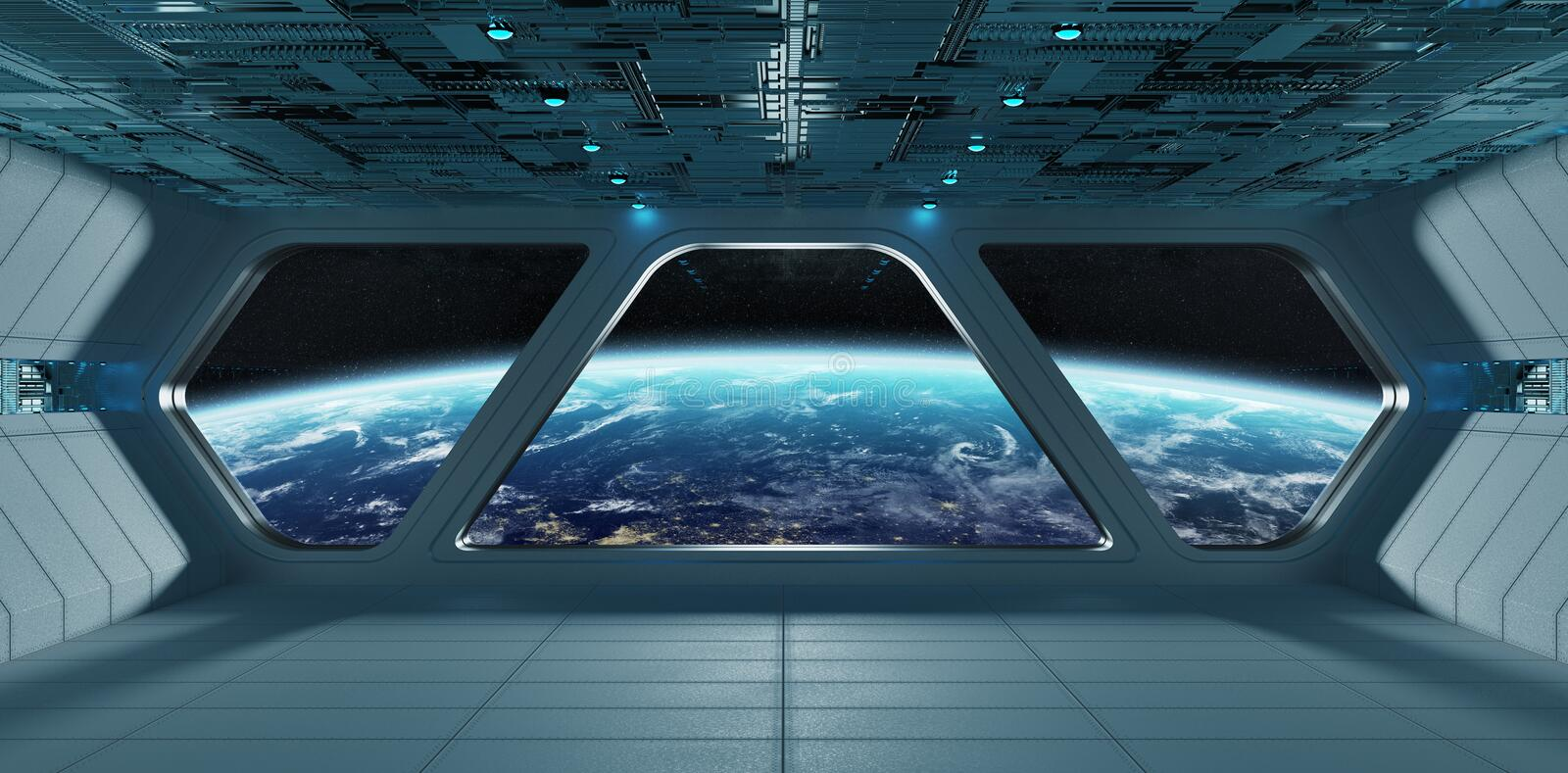 Spaceship futuristic grey blue interior with view on planet Earth royalty free illustration