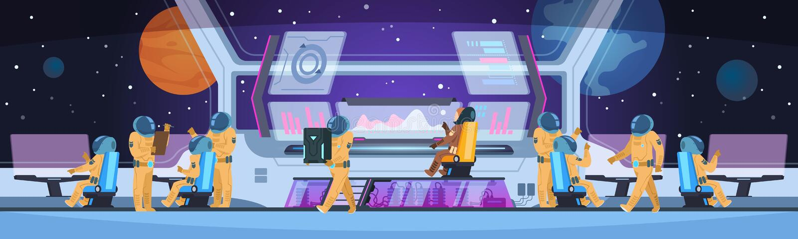 Spaceship futuristic interior. Spacecraft captain cabin with pioneer science team command and astronauts. Spaceman. Vector concept royalty free illustration