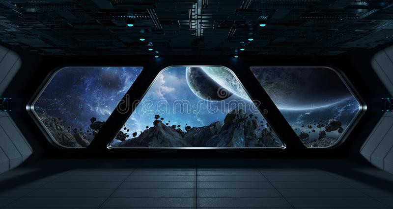 Spaceship futuristic interior with view on exoplanet royalty free illustration