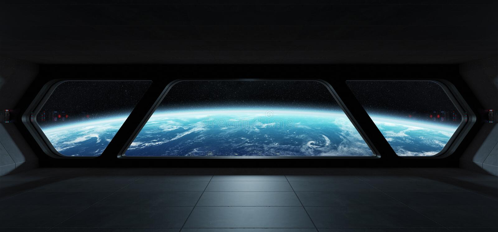 Spaceship futuristic interior with view on planet Earth royalty free illustration