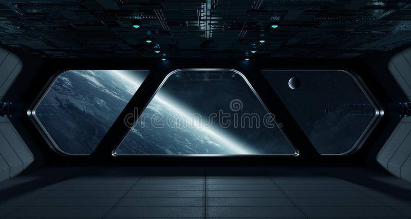 Spaceship futuristic interior with view on planet Earth vector illustration