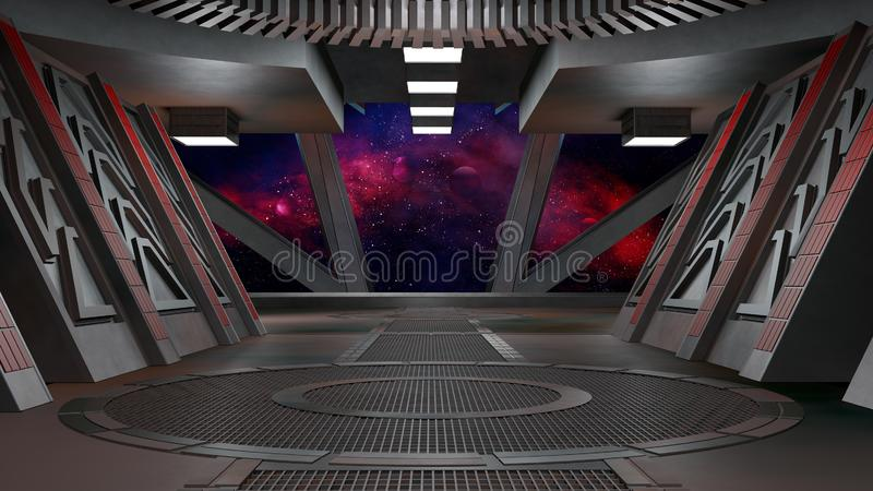 Spaceship futuristic interior with window view.3D rendering vector illustration
