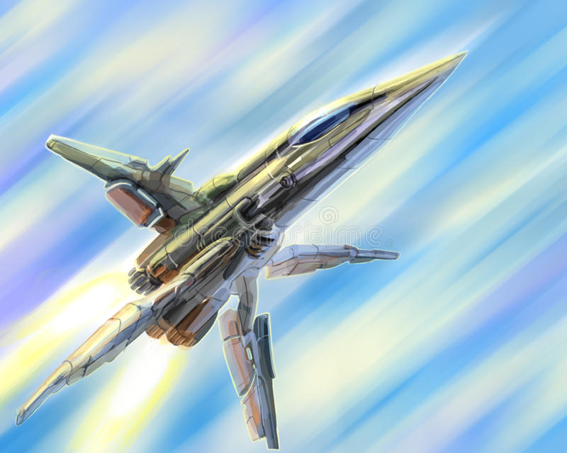 Spaceship is gaining light speed. Science fiction illustration. royalty free stock photo