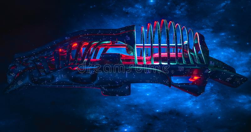 Spaceship with galaxy background futuristic spaceship Alien spaceship advanced species UFO concept. 3d rendering stock illustration