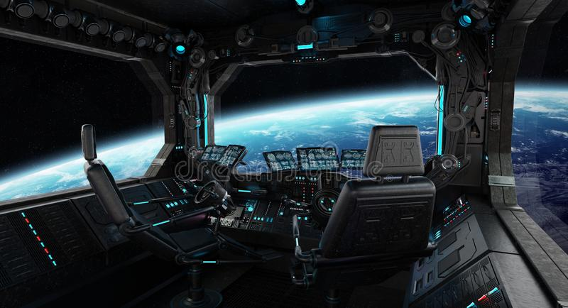 Spaceship grunge interior with view on planet Earth royalty free illustration