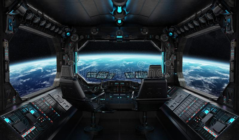 Spaceship grunge interior with view on planet Earth vector illustration