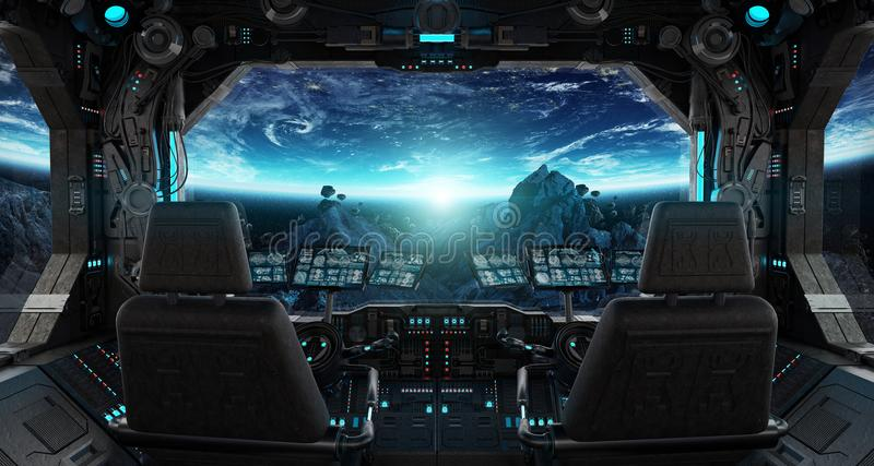 Spaceship grunge interior with view on planet Earth stock illustration