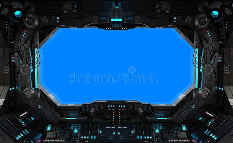 Spaceship grunge interior window isolated vector illustration