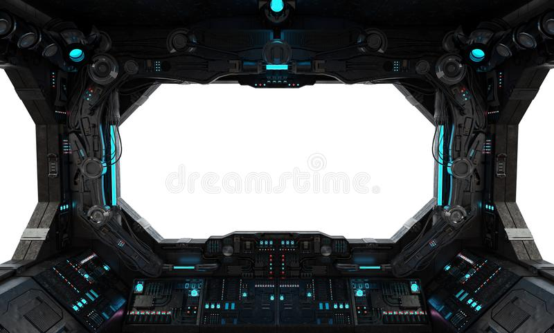 Spaceship grunge interior window isolated stock illustration