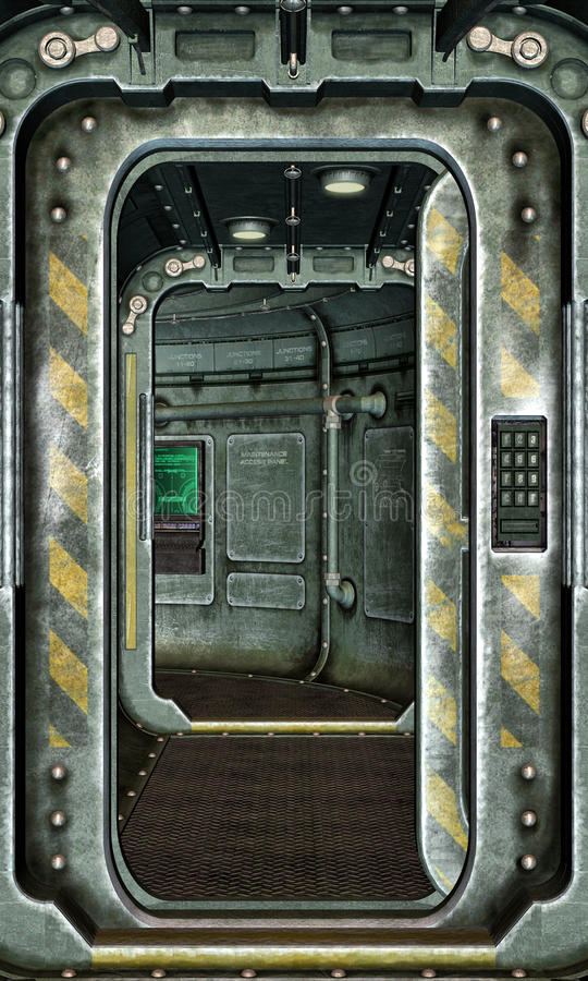 Spaceship Hatch And Corridor Background Stock Image