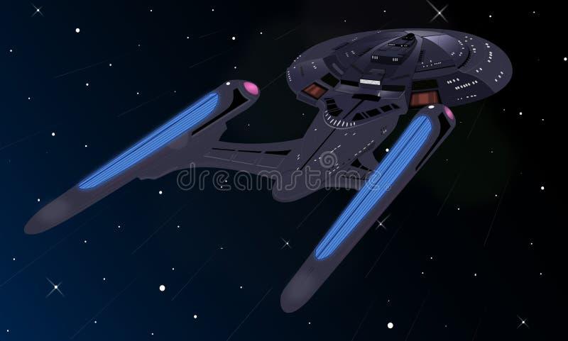 Spaceship. Illustration on the orbit royalty free illustration