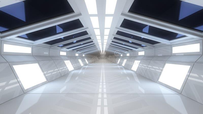 Download Spaceship Interior, Center View With Floor Stock Illustration    Illustration Of Hallway, City